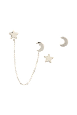 Chain Linked Stars & Moon Stud Earrings