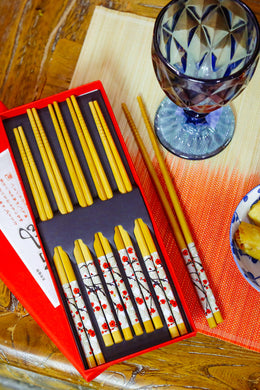 Set of 5 Red Blossom Chopsticks