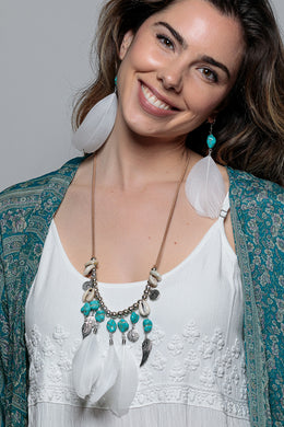 Layered Turquoise Coin Shell & Feather Necklace