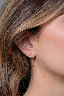 Gold Plated Feather Silver Sleeper Earrings
