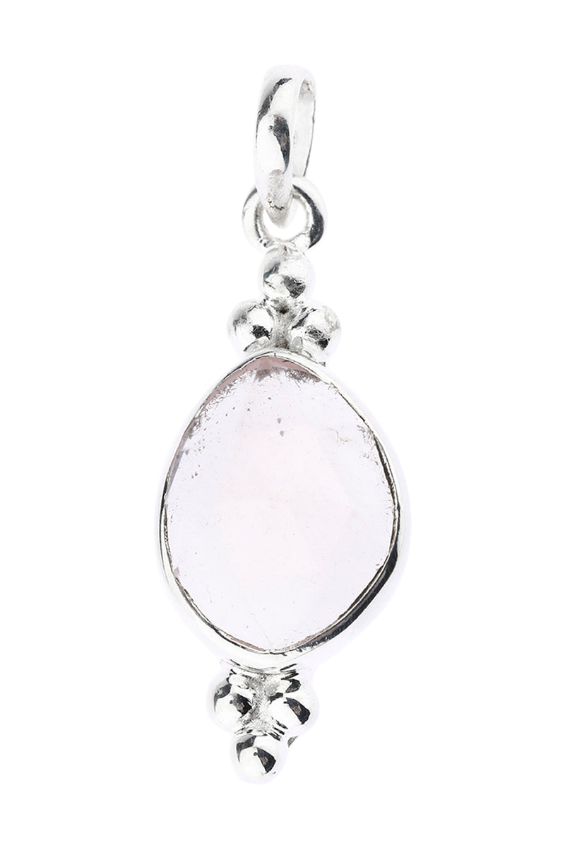 Faceted Gemstone Dainty Dot Silver Pendant