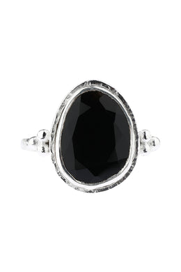 Irregular Pebbled Edge Black Onyx Silver Ring