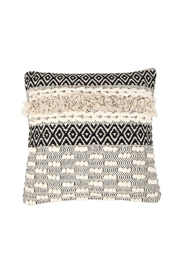 Tufted Texture Black Patterning Cushion