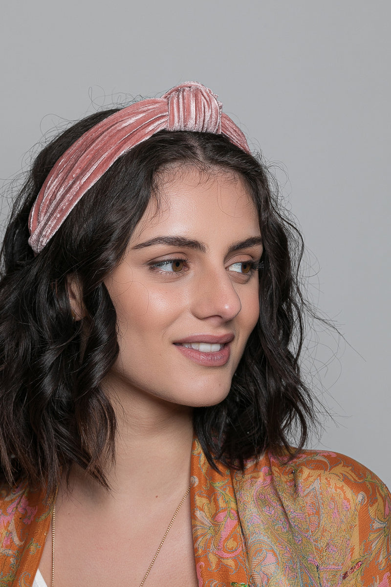 Pleated Velvet Turban Knot Headband