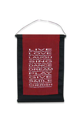 Burgundy Live Love Laugh Affirmation Banner