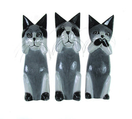Grey Three Wise Cats Set