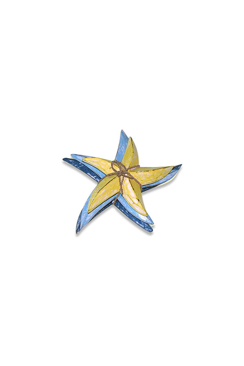 Set of 3 Yellow & Blue Starfish Ornaments