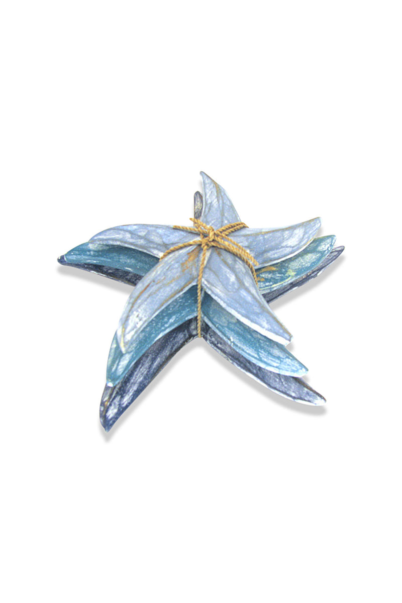 Set of 3 Washed Blue Starfish Ornaments