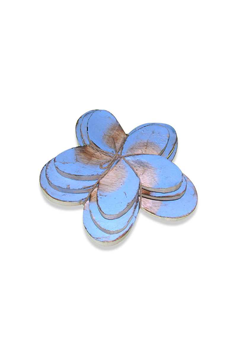 Set of 3 Light Blue Frangipani Ornaments