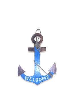 Blue Welcome Anchor Wall Hanging