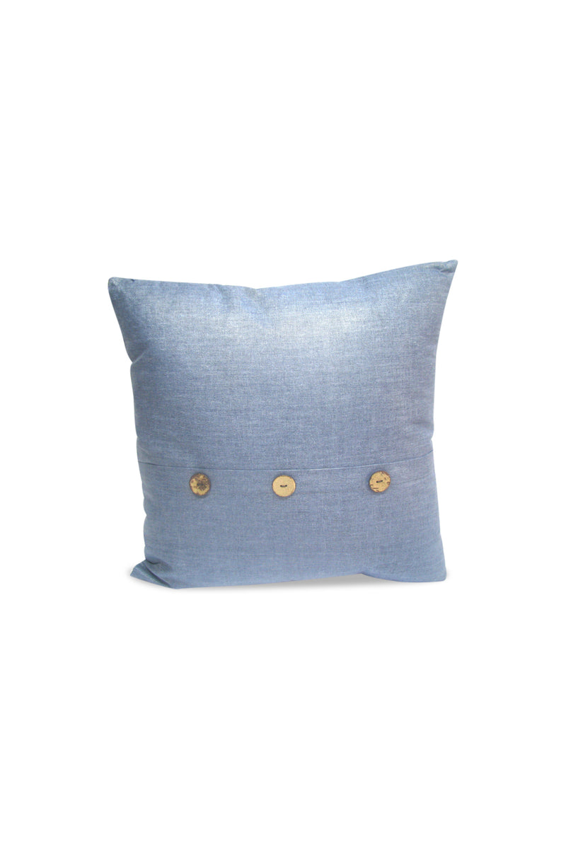 Blue Buttoned Cushion