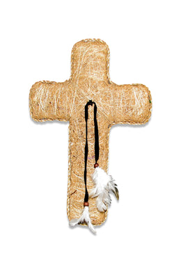 Natural Stitched Feather Crucifix