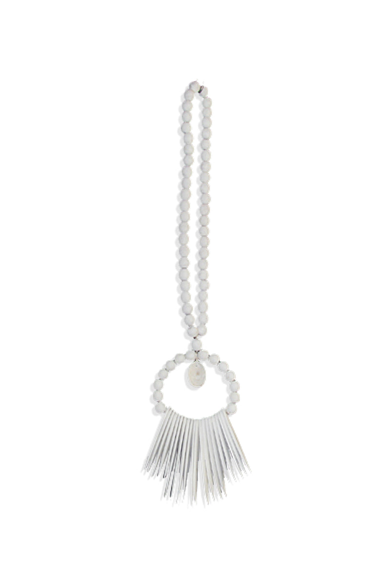 White Cuttlefish Necklace with Single Shell