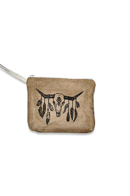 Feather Cow Skull Print Jute Clutch
