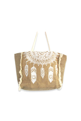 Fringed Mandala Feathers Jute Tote Bag