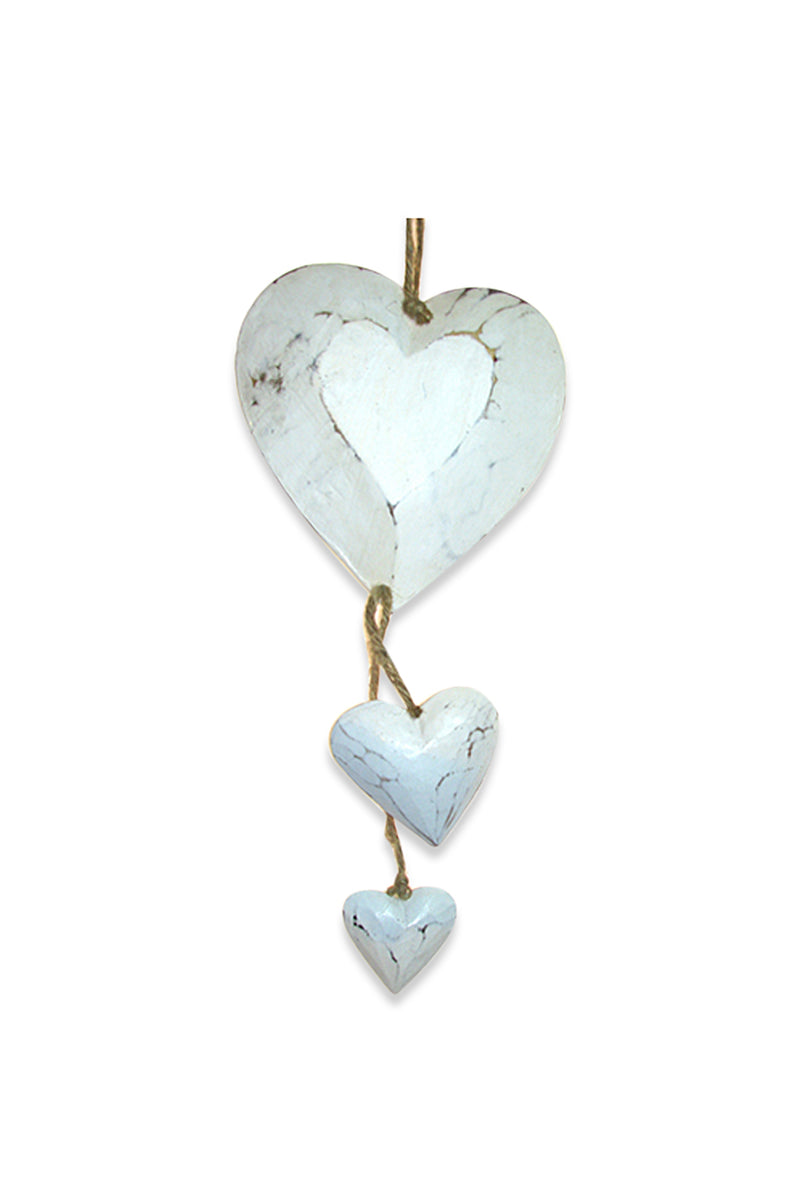 White Three Hanging Hearts Mobile