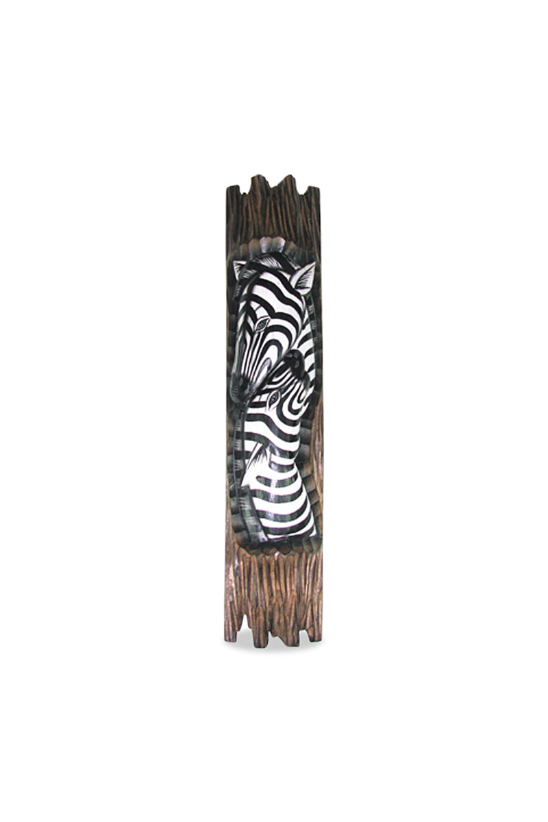 Painted Timber Zebra Wall Plaque