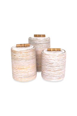 Large White Wash Rattan Cannister