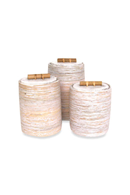 Midsize White Wash Rattan Cannister