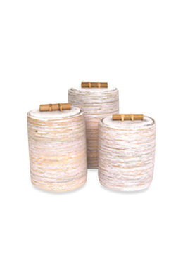 Small White Wash Rattan Cannister