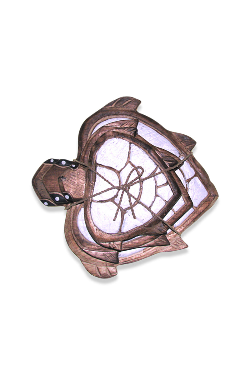 Painted Wooden Turtle Panels Set of Three