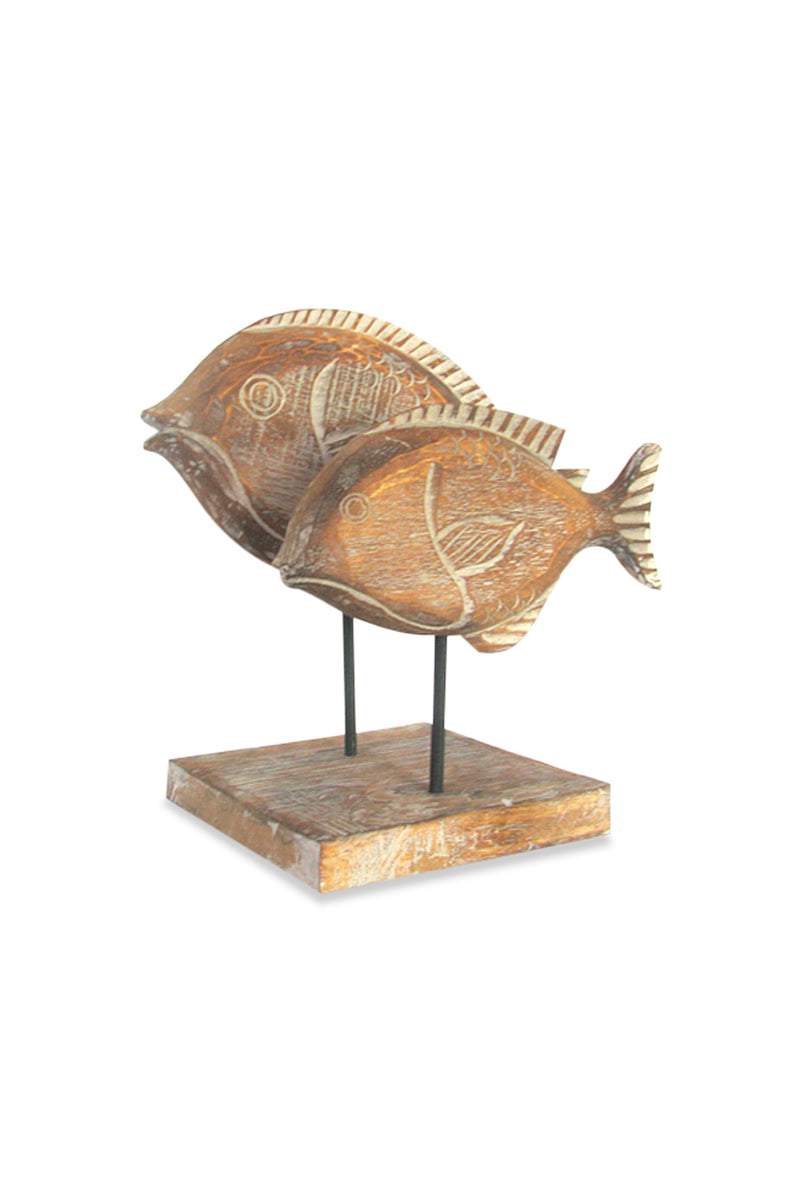 Carved Wooden Fish Statue on Stand