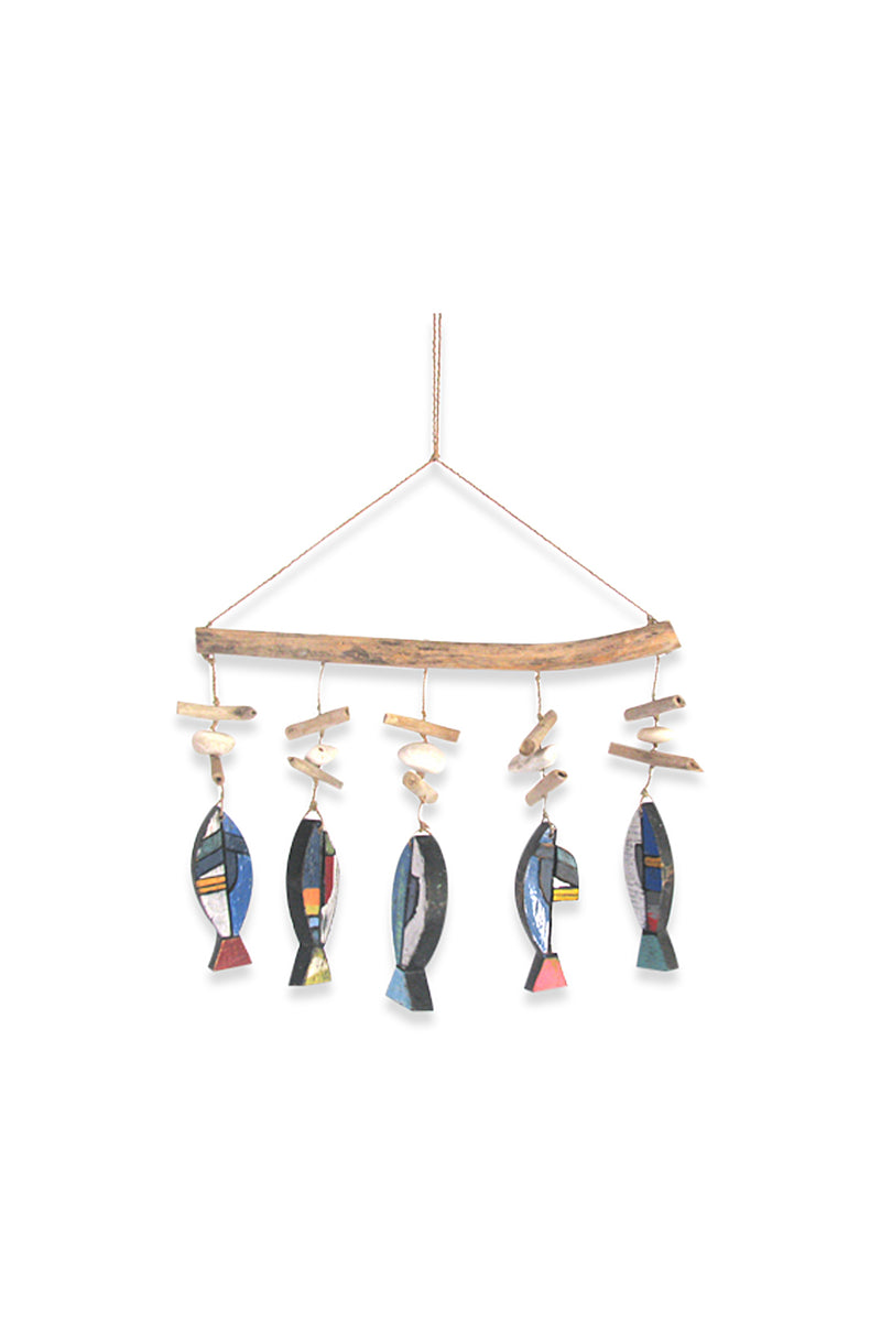 Five Ceramic Hanging Fish Mobile