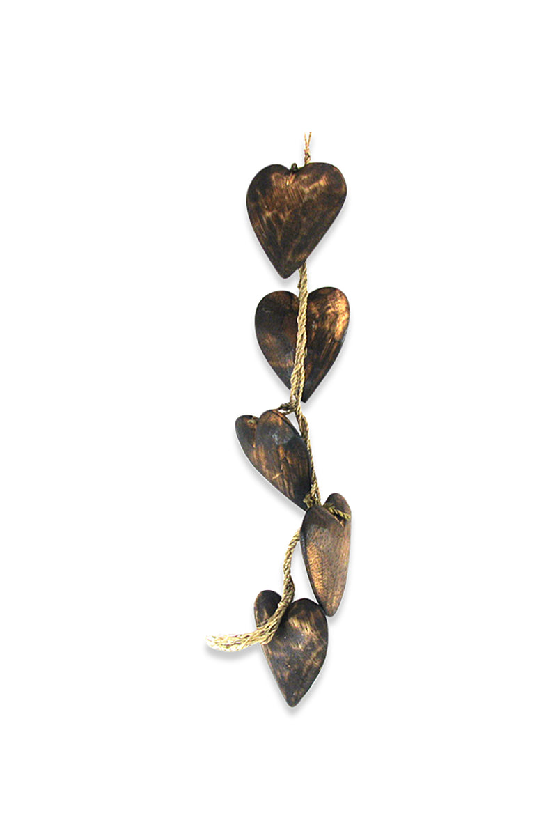 Five Timber Hearts String Mobile