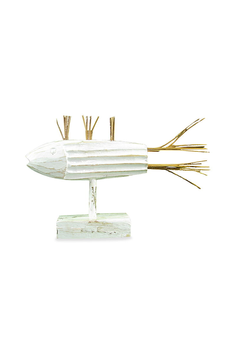 White Wash Wood & Rattan Fish Statue