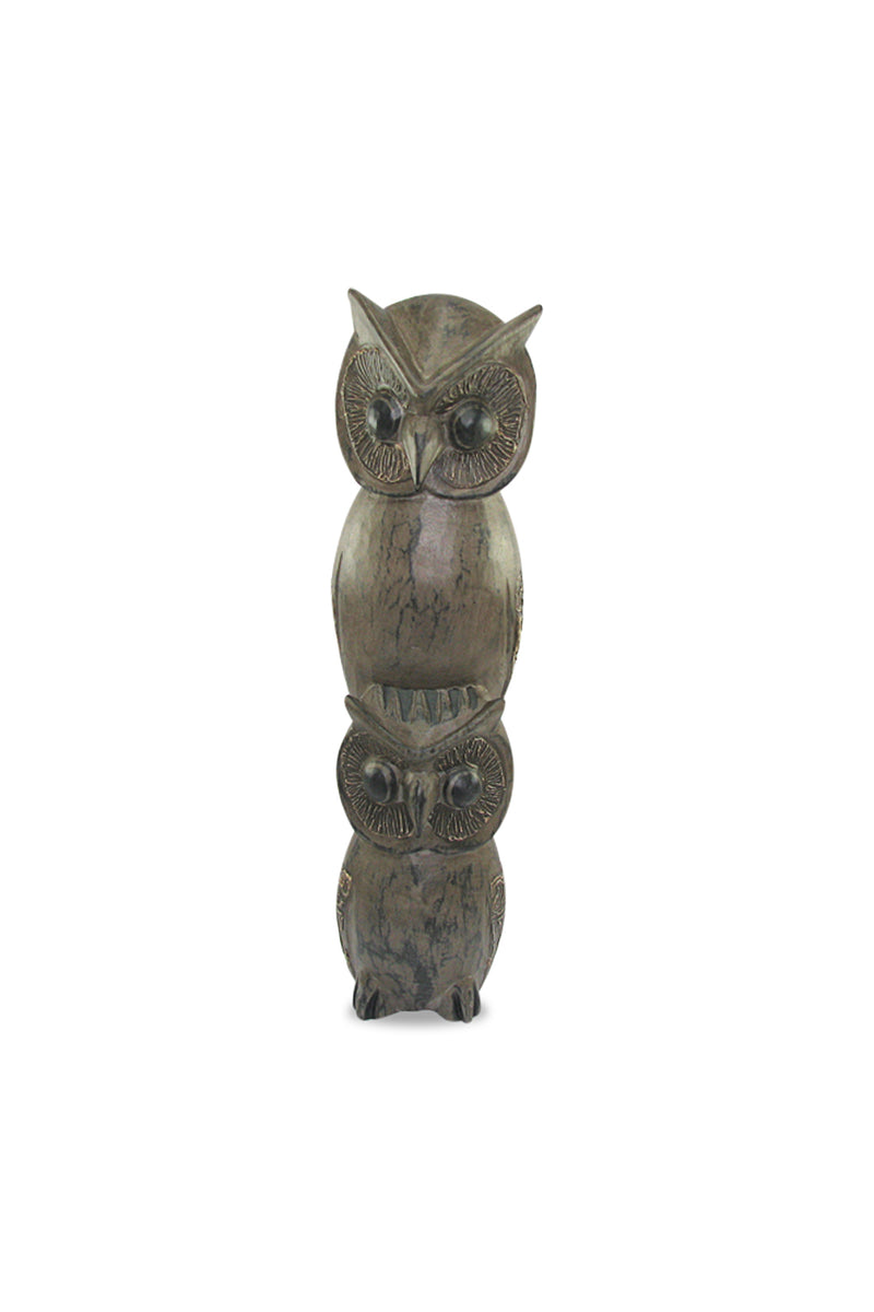 Two Grey Owls Statue
