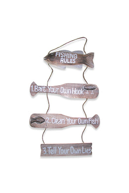 Fishing Rules Carved Timber Wall Hanging