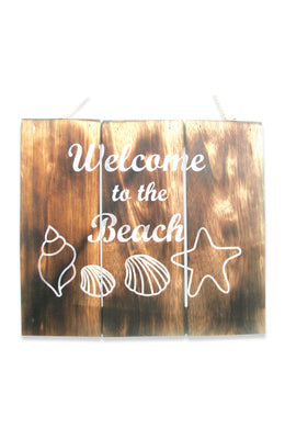 White Writing Beach Wall Plaque
