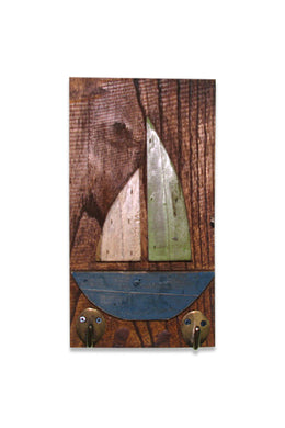 Sailboat Plaque with Hooks