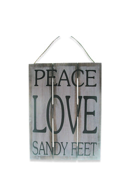Peace Love & Sandy Feet Timber Slat Sign