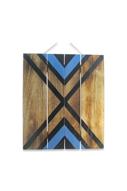 Blue Triangle Stencil Pattern Wall Plaque