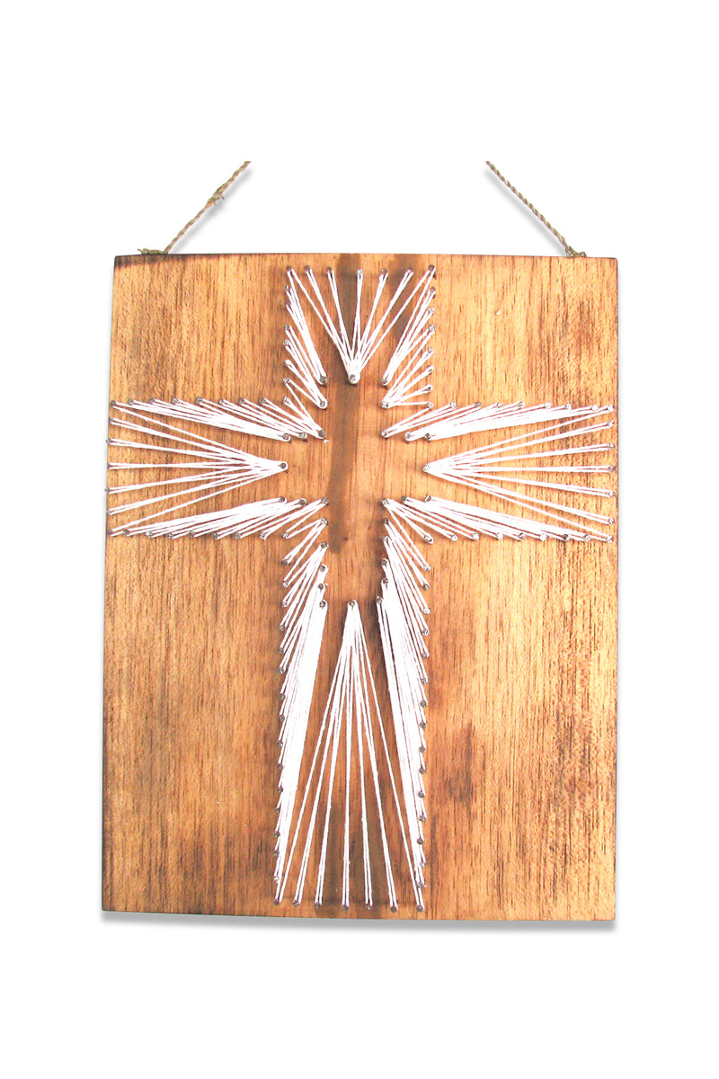 Wooden Thread Crucifix Wall Plaque