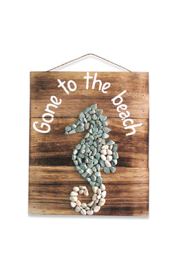 Beach Stone Sea Horse Wall Plaque