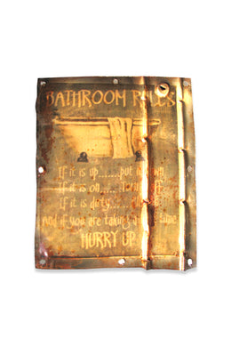 Bathroom Rules Tin Wall Sign
