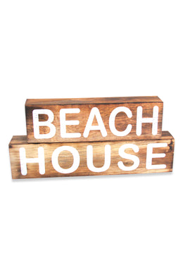 Timber Blocks Beach House Sign