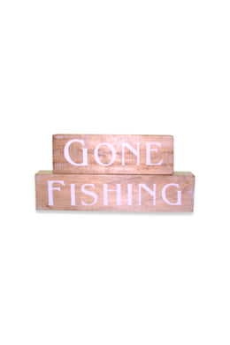 Gone Fishing Blocks Sign
