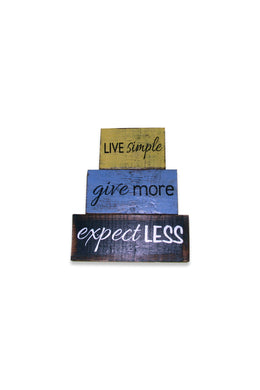Live Simply Timber Blocks Sign