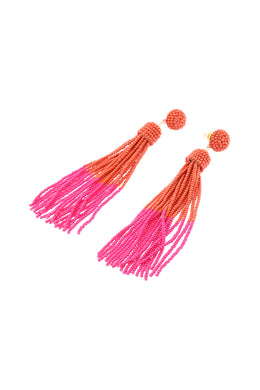 Dipped Colour Fine Bead Tassel Earrings