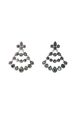 Statement Peacock Gemstone Silver Earrings