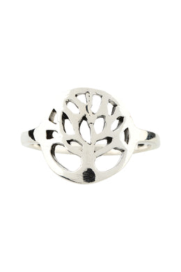 Round Tree of Life Silver Ring