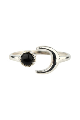 Crescent Black Onyx Open Silver Ring