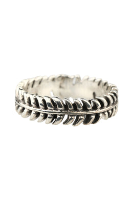 Endless Feather Leaf Silver Ring