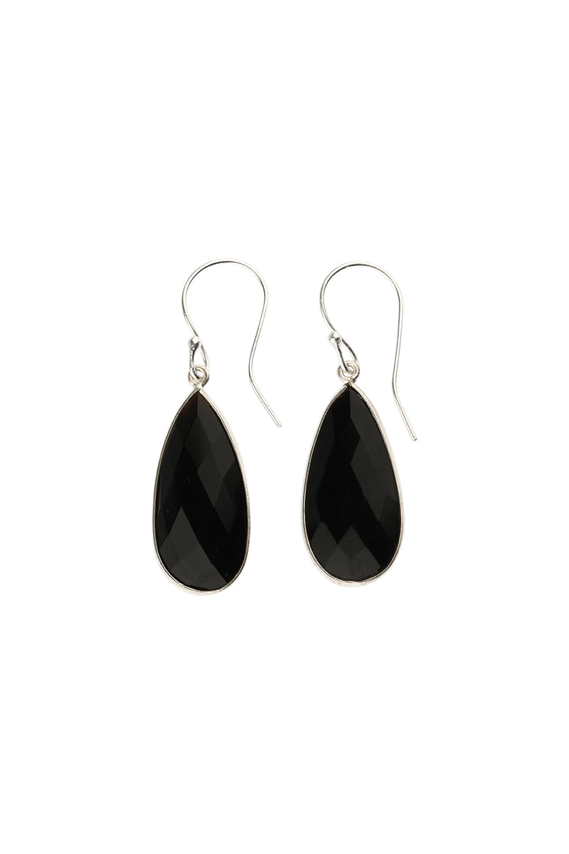 Elongated Faceted Gemstone Silver Earrings