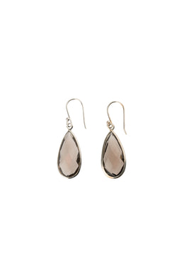 Faceted Smoky Quartz Teardrop Silver Earrings