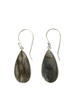 Faceted Labradorite Teardrop Silver Earrings