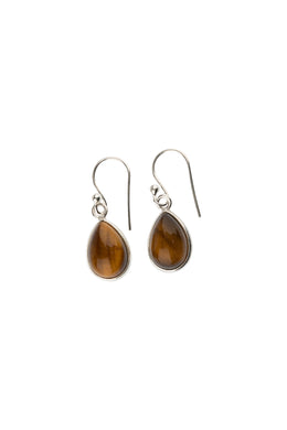 Tiger Eye Dainty Teardrop Silver Earrings